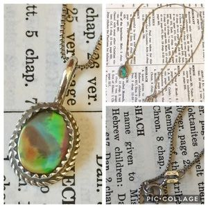 Native American Abalone necklace Sterling silver